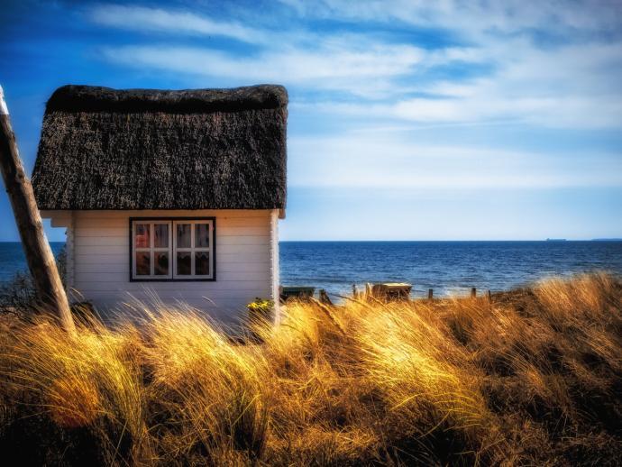 Rohrgedecktes Haus Ostsee