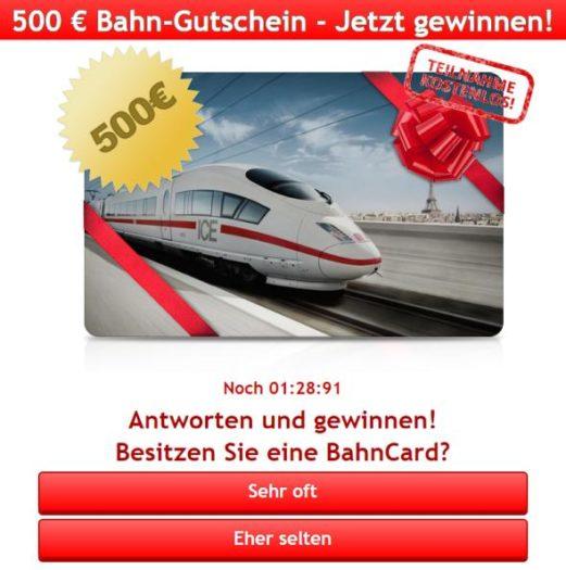 500 € Bahn-Gutschein gewinnen