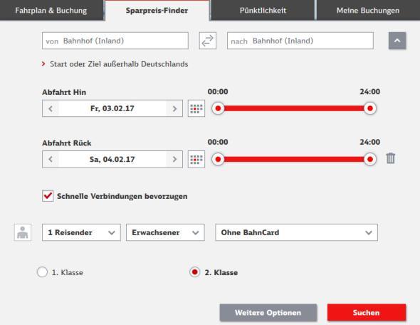 Deutsche Bahn Sparpreisfinder