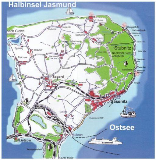 Halbinsel Jasmund Rügen Karte