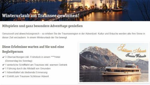 Traunsee Winterurlaub Gewinnspiel